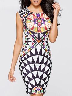 Euro Fashion Print Sleeveless Wrap Sheath Dress
