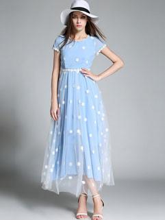 Elegant Floral Embroidery Slim Long Formal Dress