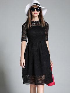 Korean Lace Floral Slim Ruffle Fashion Dress