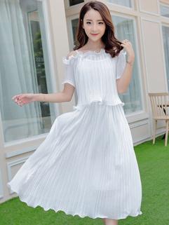 Korean Design Ruffles Two Pieces Pleated Dress