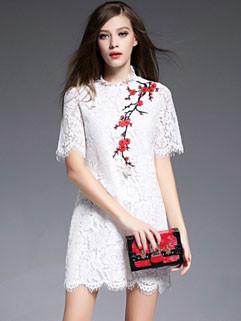 Elegant Lace Embroidery Floral Slim Zipper Ladies Dress