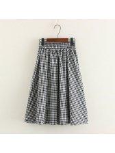 College Style Elastic Waist Plaid Casual Skirt