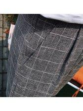 Japan Fashion Plaid Letter Pocket Men Half Pants
