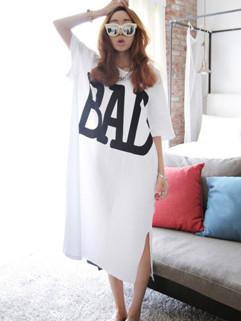 Cheap Korean Letter Print Maxi Dresses
