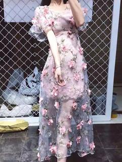Elegant Floral Flare Sleeve Slim Maxi Beautiful Dress