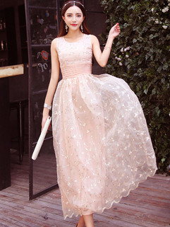 Korean Style Embroidery Floral Sleeveless Ruffle Long Formal Dress