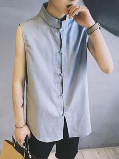 Chinese Style Stand Collar Sleeveless Shirt