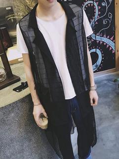 Korean Design Fashion Gauze Printed Sleeveless Men Waistcoat