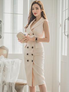 Korean Design Double-breasted Slit  Wrap  Dress