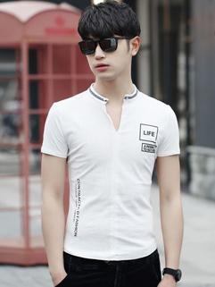 Korean Letter Print V Neck Slim Breathable Men Tee