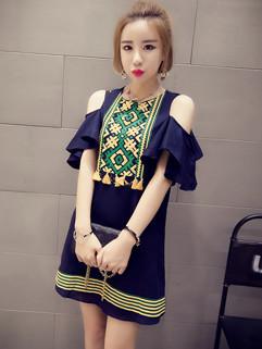 Korean Fashion Off Shoulder Fringe Short Dress