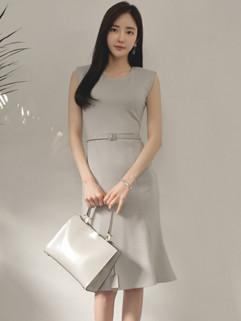 Korean OL Style Sleeveless Slim Wrap Mermaid Ladies Dress