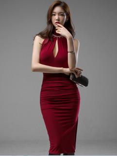 Korean Sexy Pierced Sleeveless Ruffle Wrap Slit Formal Dress
