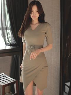 Japan Fashion Solid V Neck Slim Designer Dress