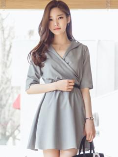 Korean OL Style Turndown Collar Belted Slim Short Dress