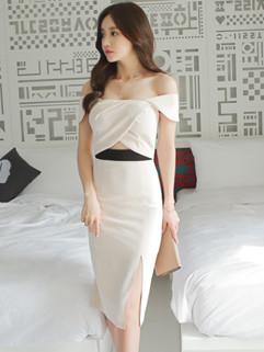 Korean Sexy Off Shoulder Patchwork Wrap Slit Pretty Dress