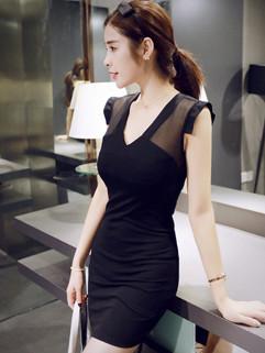 Outlet Sexy V Neck Gauze Patchwork Wrap Night Dress