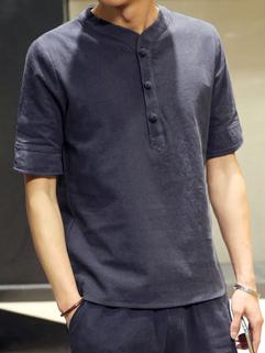 Japan Vintage Solid V Neck Casual Men T-Shirt