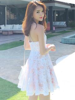 Summer Sweet Slim Lace Hook Flower Straps Dress