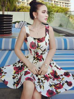 Vintage Style Rose Printed Sleeveless Dress