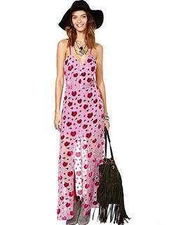Rose Printed Backless Slit Straps Long Dress
