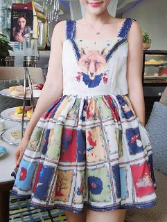 Little Fox  Printed High Waist Sleeveless Dress