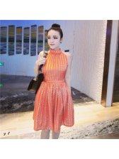 Fashion Lady Chain Printed Halter Dress