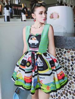 Pretty Summer Cartoon Printed Sleeveless  Dress