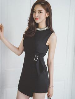 Euro Style Sleeveless Beading Asymmetrical Woman Jumpsuits