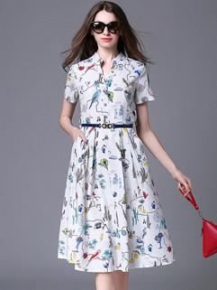 New Arrival  Printed  Short Sleeve Shirt Dress