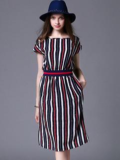 Summer Fashion Stripes Bat Sleeve Dress