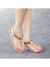 Newest Toe Post Diamond Flat Casual Women Sandal