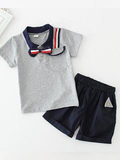 Fashionable Cotton Square Collar Boy Designer Children Set