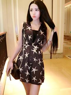 Korean Style Lady V-Neck Star Pattern Fashion Jumpsuit
