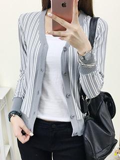 Lady Like Striped V-Neck Knitting Sun-Proof Coat