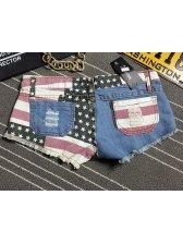 Summer Casual Flag Pattern Low Waist Short Jean