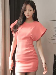 Wholesale Solid Crew Neck Slim Office Lady Dress