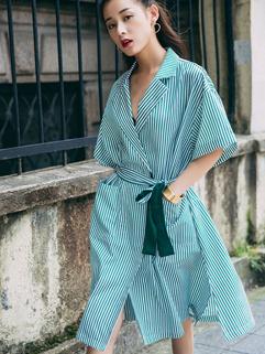 Korean Stripe Turndown Collar Lack-up Slit Fashion Dress