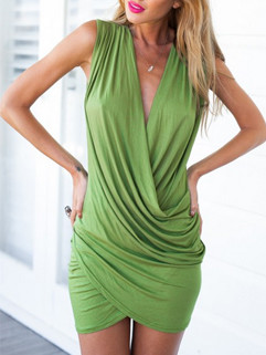 Hot Selling Solid Sexy Deep V Wrap Pencil Dress