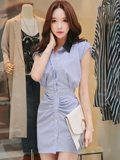 Korean Fashion Stripe Turndown Collar Shirt Dress