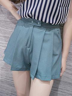 Simple Casual High Waist Pleated Short Pant