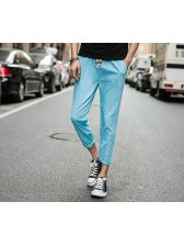 Factory Outlet Solid Pocket String Street Ninth Harem Pants