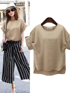 Summer Arrival Petal Sleeve O Neck Woman T Shirt Design