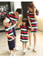Wholesale Family Suits Striped O Neck T Shirt & Dress