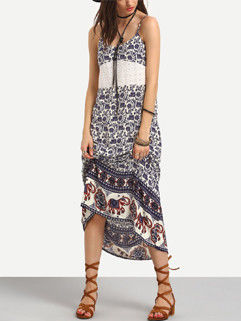 Summer Backless Printing Floral Bohemian Strap Long Dresses