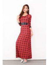 Euro Fashion Plaid Crew Neck Lack-up Long Dresses