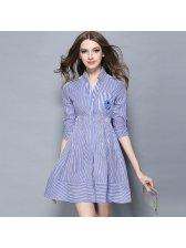 Elegant V-neck Striped Work Long Sleeve Dresses
