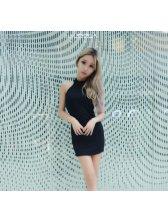 Cheap Off Shoulder Sleeveless Body-con Sun Dress