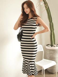 Euro Fashion Stripe Sleeveless Slim Long Mermaid Dress