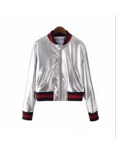 Wholesale Silvery Patchwork Long Sleeve Bomber Jacket